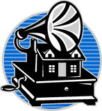 Vintage Gramophone With Old House Royalty Free Stock Photography