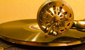 Record player. Vintage gramophone player with spinning record royalty free stock photos