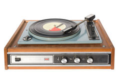 Vintage gramophone  record. An old record-player with a scratched gramophone record Stock Image