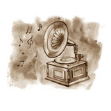 Vintage Gramophone, record player. Background sketch vinyl records . Vintage Gramophone, Record player. Background sketch the gramophone, the vinyl records Royalty Free Stock Photos