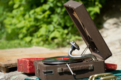 Vintage gramophone with vinyl plate Stock Photo