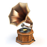 Vintage gramophone  on white. Royalty Free Stock Images