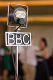 Vintage grampian retro bbc microphone at a retro event Royalty Free Stock Images