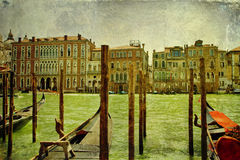 Vintage Grand Canal panorama Royalty Free Stock Images