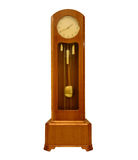 Vintage grandfather clock on white. Royalty Free Stock Photo