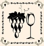 Vintage grapes and wine Stock Images