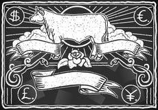 Vintage Graphic Blackboard for Meat Menu Stock Images
