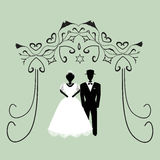Vintage graphic Chuppah. Religious Jewish wedding canopy for. Bride and groom. Flat. Vector illustration on isolated Stock Photography
