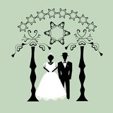 Vintage graphic Chuppah. Religious Jewish wedding canopy for. Bride and groom. Flat. Vector illustration on. Background stock illustration