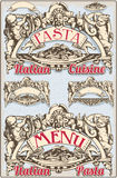 Vintage Graphic Element for Italian Pasta Menu Royalty Free Stock Images