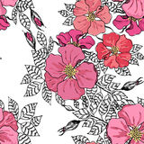 Vintage graphic flower seamless pattern texture Royalty Free Stock Photo