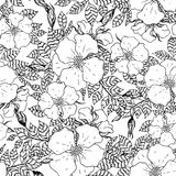 Vintage graphic flower seamless pattern texture Stock Image