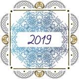 Vintage graphic mandala. frame 2019 new year. Vector illustration on isolated background. royalty free stock image