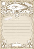 Vintage Graphic Page for Fish Menu Stock Photography