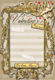 Vintage Graphic Page for Valentine 's Menu Stock Photos