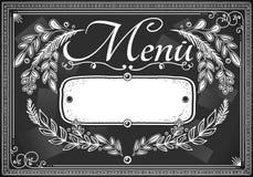 Vintage graphic place card menu for bar or restaurant. Detailed illustration of a vintage graphic place card menu for bar or restaurant on blackboard Stock Image