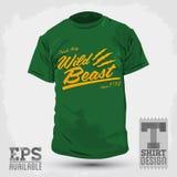 Vintage Graphic T-shirt design - wild beast letter vector illustration