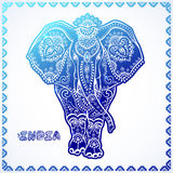 Vintage graphic vector Indian lotus ethnic elephant. African tri Stock Photography