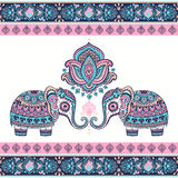 Vintage graphic vector Indian lotus ethnic elephant. African tri Royalty Free Stock Photos