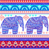 Vintage graphic vector Indian lotus ethnic elephant. African tri Stock Image