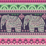 Vintage graphic vector Indian lotus ethnic elephant. African tri Stock Images