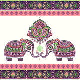 Vintage graphic vector Indian lotus ethnic elephant. African tri Royalty Free Stock Images
