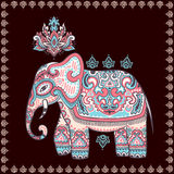 Vintage graphic vector Indian lotus ethnic elephant seamless pat Stock Image