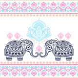 Vintage graphic vector Indian lotus ethnic elephant seamless pat Royalty Free Stock Photography