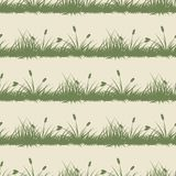 Vintage grass and bushes silhouettes horizontal seamless patterns. Vintage grass and bushes silhouettes with canes horizontal seamless patterns Royalty Free Stock Photo