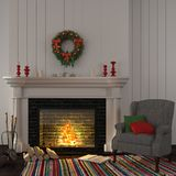 Vintage gray armchair near the fireplace with Christmas decor Royalty Free Stock Photography