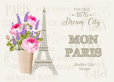 Vintage gray card. Vintage gray card with spring flowers in the vase over Eiffel tower with sign - vintage, dream sity, mon paris, shabby chic, design. Vector Royalty Free Stock Photography