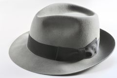 Vintage gray hat  on white backgroud Royalty Free Stock Photos