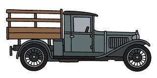 Vintage gray lorry. Hand drawing of a vintage gray truck Royalty Free Stock Photography