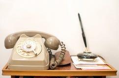Vintage gray telephone handset background Stock Images