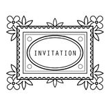 Vintage grayscale floral frame in a lineart style Royalty Free Stock Image