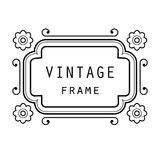 Vintage grayscale frame in a lineart style Stock Photo
