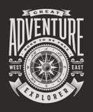 Vintage Great Adventure Typography On Black Background stock illustration