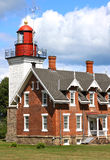 Vintage Great Lakes Lighthouse. Lake Erie Lighthouse which was built in 1875 on the Chadwick Bay Harbor in the city of Dunkirk, New York stock images