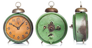 Vintage green alarm clock Stock Images