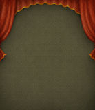 Vintage green background with red curtains. vector illustration