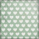 Vintage Green Background White Hearts Stock Photo