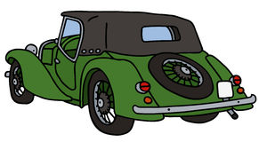 Vintage green cabriolet. Hand drawn vector illustration Vector Illustration