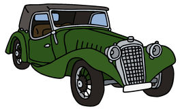 Vintage green cabriolet. Hand drawn vector illustration Royalty Free Illustration