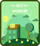 Vintage, green card with hotel on hill, meadow Royalty Free Stock Photography