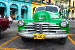 Vintage green Chevrolet in Havana Stock Photo