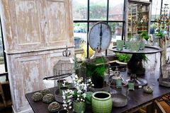 Vintage green design objects stock photography