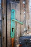 Vintage green door handle on island Susak Stock Image