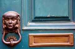 Vintage green door in Italy  Royalty Free Stock Photography