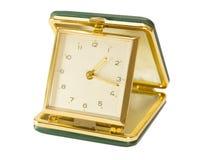 Vintage, Green, Key Wound, Folding Travel Alarm Clock Stock Photo