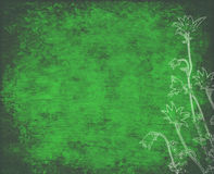Vintage green leaf background with linocut flowers Stock Images